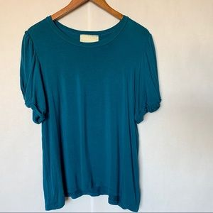 Anthropologie Maeve blue puff sleeved top